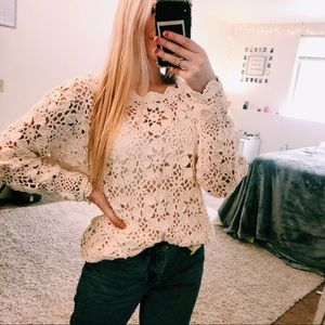 Vintage Off White Crochet Sweater Size Large